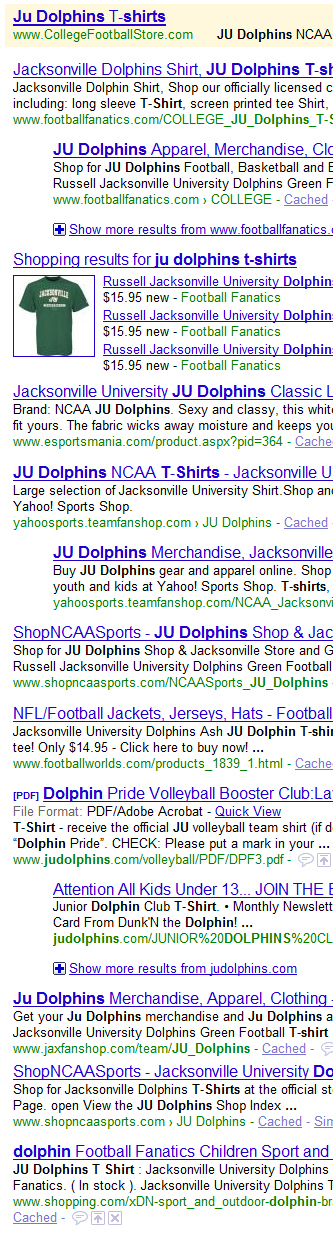 Football Fanatics dominates the search results for the JU Dolphins T-Shirt keyword phrase